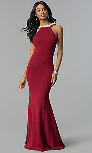 Image of long open-back formal dress with pearl trim. Style: LP-25043 Front Image