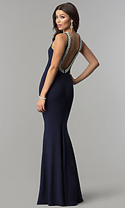Image of long open-back formal dress with pearl trim. Style: LP-25043 Back Image