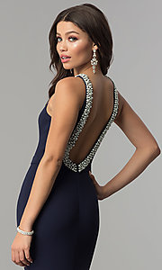 Image of long open-back formal dress with pearl trim. Style: LP-25043 Detail Image 1