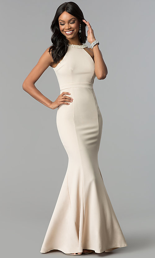 Cheap Long Formal Dress With Pearl Trimmed Open Back