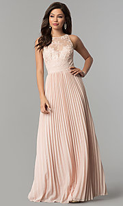 Image of embroidered-bodice long pleated prom dress. Style: LP-24901 Front Image
