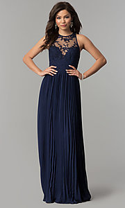 Image of embroidered-bodice long pleated prom dress. Style: LP-24901 Detail Image 3
