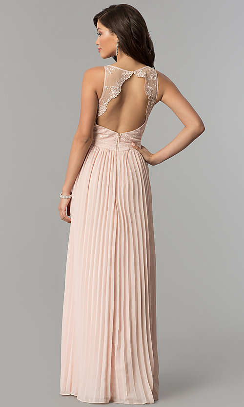 Image of embroidered-bodice long pleated prom dress. Style: LP-24901 Back Image