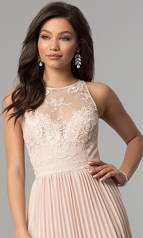 Image of embroidered-bodice long pleated prom dress. Style: LP-24901 Detail Image 1
