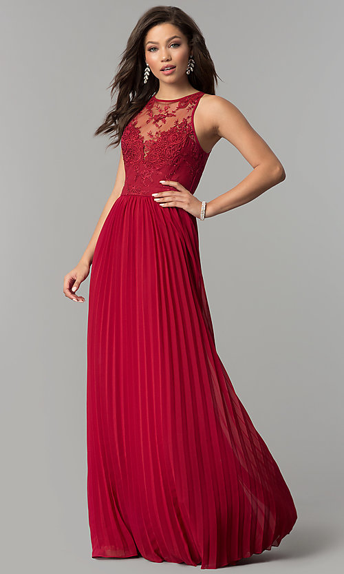 Image of embroidered-bodice long pleated prom dress. Style: LP-24901 Detail Image 2