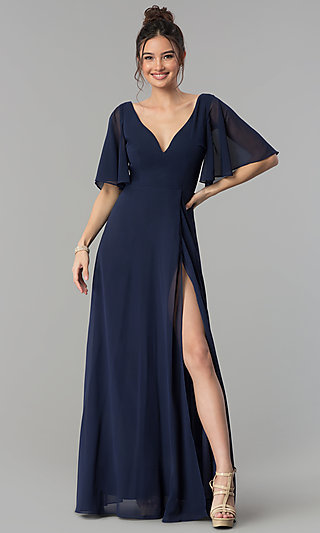 Long Decolletage-V-Neck Formal Prom Dress