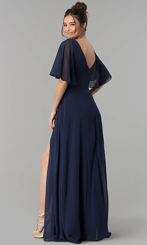 Image of long decolletage-v-neck formal prom dress. Style: LP-25297 Detail Image 4