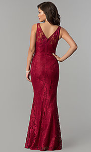 Image of formal v-neck mermaid long lace prom dress. Style: LP-25126 Detail Image 3