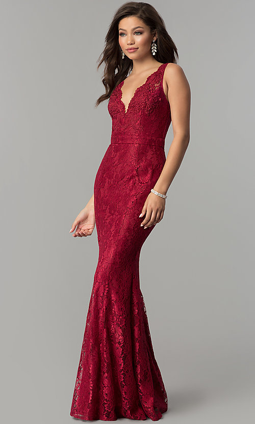 Image of formal v-neck mermaid long lace prom dress. Style: LP-25126 Detail Image 2