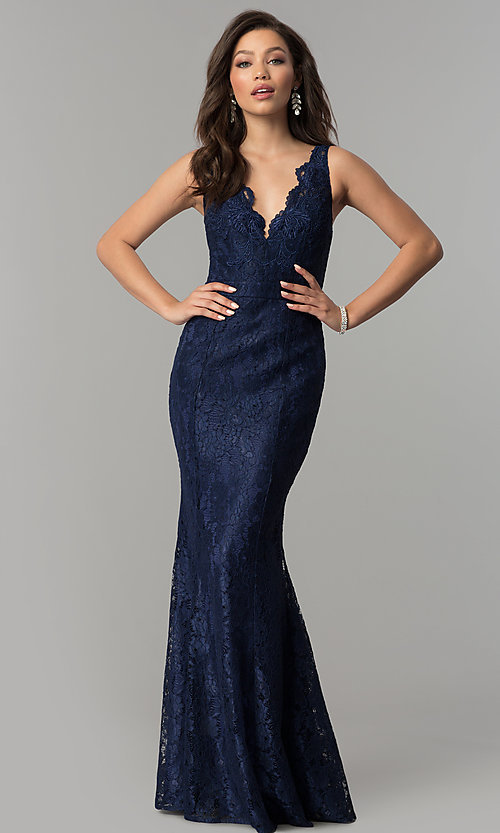 Image of formal v-neck mermaid long lace prom dress. Style: LP-25126 Front Image
