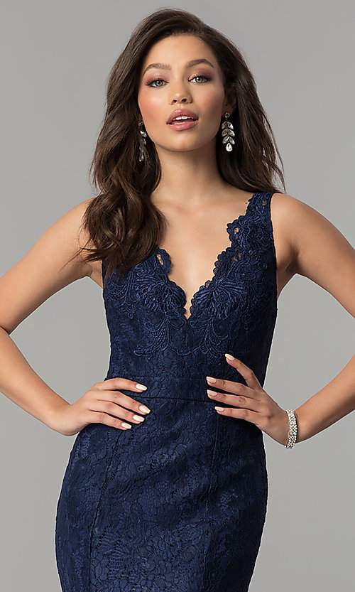 Image of formal v-neck mermaid long lace prom dress. Style: LP-25126 Detail Image 1