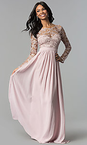 Corset-Back Lace-Bodice Long Prom Dress Style: LP-25065 Detail Image 2