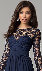Corset-Back Lace-Bodice Long Prom Dress Style: LP-25065 Detail Image 1