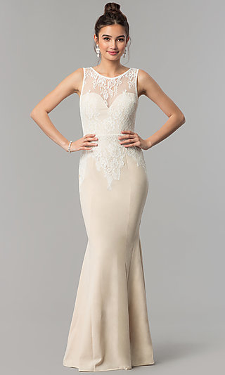Formal Long Mermaid Prom Dress with Lace Bodice