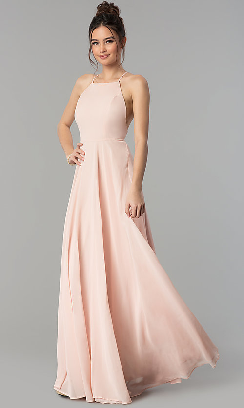 Image of square-neck long chiffon prom dress. Style: LP-27409 Front Image