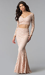 Image of two-piece long-sleeve lace prom dress. Style: LP-90044 Front Image