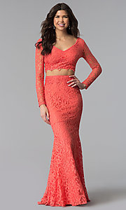 Image of two-piece long-sleeve lace prom dress. Style: LP-90044 Detail Image 1