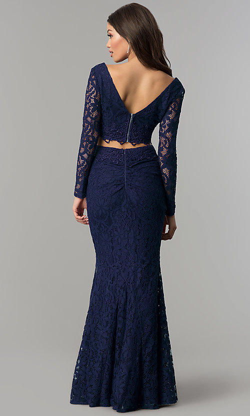 Image of two-piece long-sleeve lace prom dress. Style: LP-90044 Back Image
