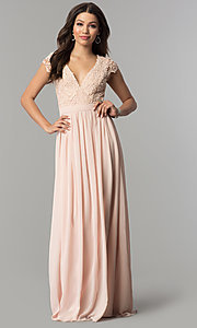 Image of cap-sleeve lace-bodice long chiffon prom dress. Style: LP-25067 Front Image