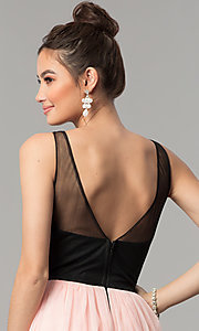 Image of embroidered-bodice long v-neck open-back prom dress. Style: LP-27183 Detail Image 2