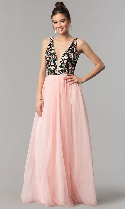 Image of embroidered-bodice long v-neck open-back prom dress. Style: LP-27183 Front Image