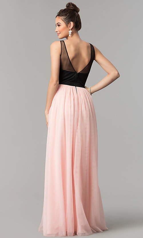 Image of embroidered-bodice long v-neck open-back prom dress. Style: LP-27183 Back Image