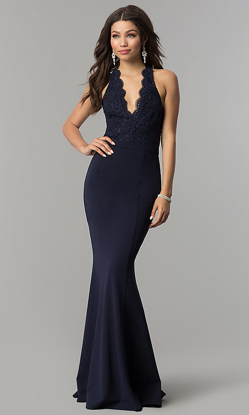 Image of halter-bodice long mermaid prom dress with lace. Style  LP- f43d9a063