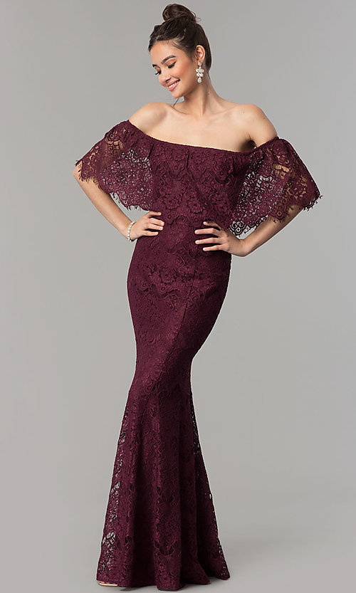 4019d7e5d4a Image of off-the-shoulder long lace prom dress with popover. Style