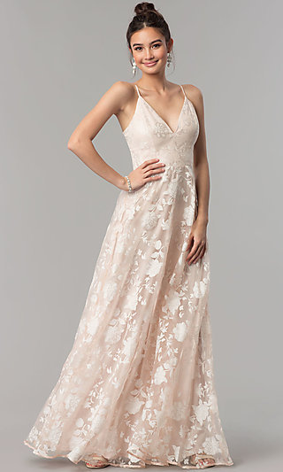 Long V-Neck Floral-Print Organza Prom Dress