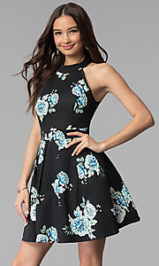 Image of short open-back party dress with floral print. Style: EM-FLR-3600-009 Front Image