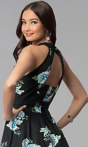 Image of short open-back party dress with floral print. Style: EM-FLR-3600-009 Detail Image 2