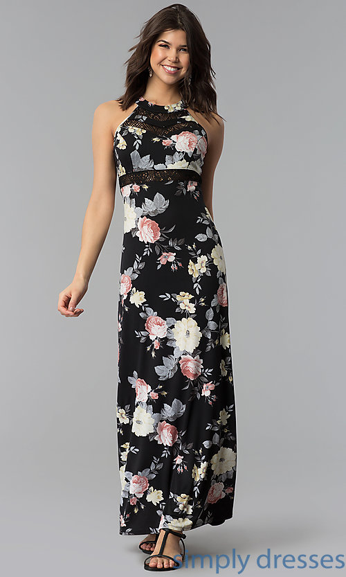 Image of long floral-print casual dress with racerback. Style: EM-COU-3623-003 Front Image