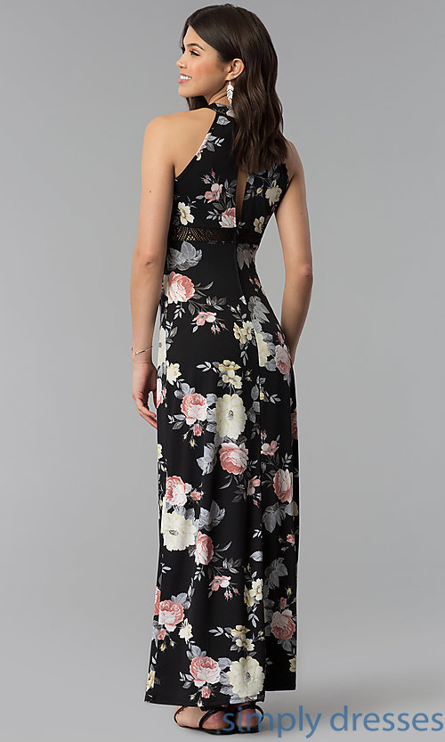 Image of long floral-print casual dress with racerback. Style: EM-COU-3623-003 Back Image