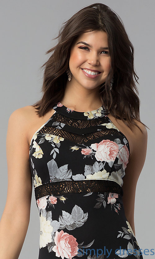 Image of long floral-print casual dress with racerback. Style: EM-COU-3623-003 Detail Image 1