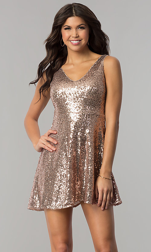 Image of sequin short holiday party dress with back cut out. Style: VE-888-213602 Front Image