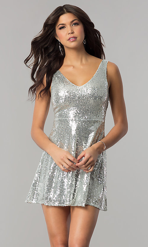 Image of sequin short holiday party dress with back cut out. Style: VE-888-213602 Detail Image 3