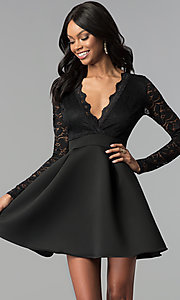 Image of short open-back lace-bodice sleeved party dress. Style: DC-D46036 Detail Image 1