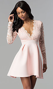 Image of short open-back lace-bodice sleeved party dress. Style: DC-D46036 Front Image