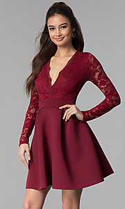 Image of short open-back lace-bodice sleeved party dress. Style: DC-D46036 Detail Image 2