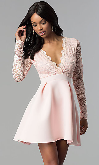 94a725067c3 Short Open-Back Lace-Bodice Sleeved Party Dress