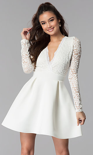 Short Open-Back Lace-Bodice Sleeved Party Dress