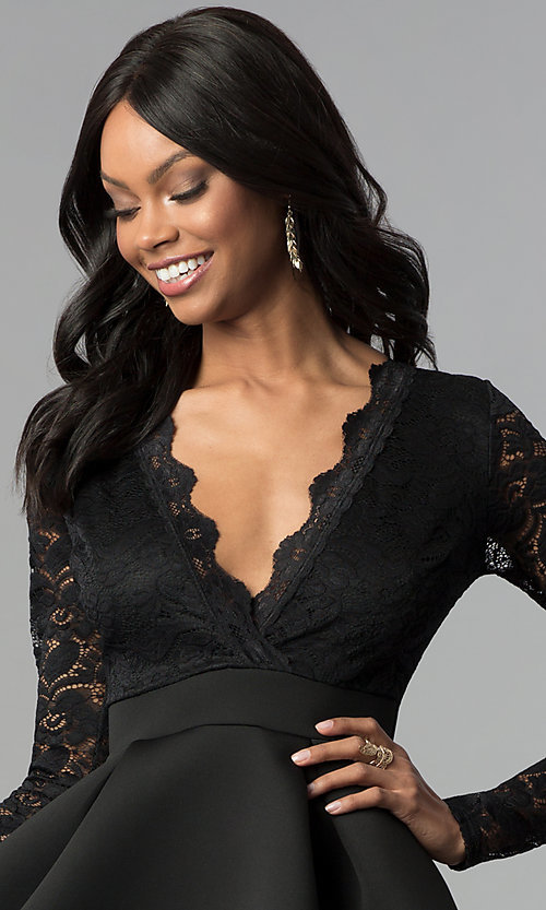Image of short open-back lace-bodice sleeved party dress. Style: DC-D46036 Detail Image 3