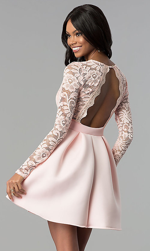 Image of short open-back lace-bodice sleeved party dress. Style: DC-D46036 Back Image