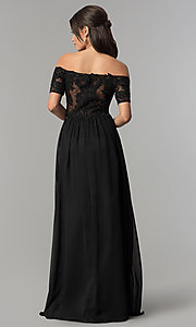 Image of long illusion-bodice off-the-shoulder formal dress. Style: NA-A061 Back Image