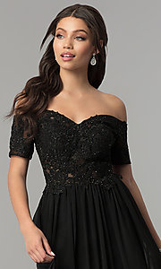 Image of long illusion-bodice off-the-shoulder formal dress. Style: NA-A061 Detail Image 1