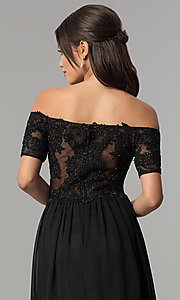 Image of long illusion-bodice off-the-shoulder formal dress. Style: NA-A061 Detail Image 2