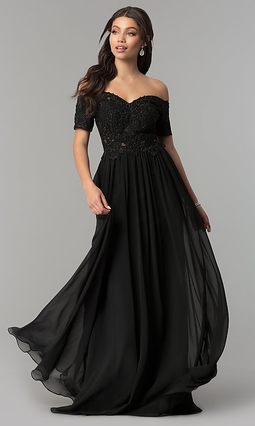 Image of long illusion-bodice off-the-shoulder formal dress. Style: NA-A061 Front Image