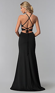 Image of long prom dress with lace-up corset back. Style: NA-C026 Detail Image 3