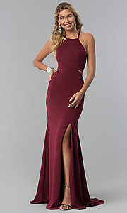 Image of long prom dress with lace-up corset back. Style: NA-C026 Front Image
