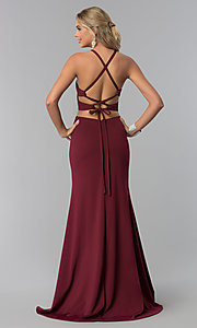 Image of long prom dress with lace-up corset back. Style: NA-C026 Back Image